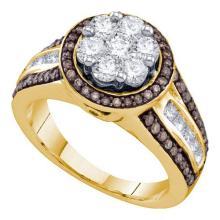 10K Yellow Gold Jewelry 1.39 ctw White Diamond & Cognac Diamond Ladies Ring - WGD73612