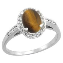 Natural 1.16 ctw Tiger-eye & Diamond Engagement Ring 10K White Gold - SC-CW924137-REF#24A6V