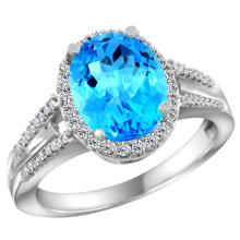 Natural 2.72 ctw swiss-blue-topaz & Diamond Engagement Ring 10K White Gold - SC-CW904174-REF#45Z3Y