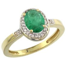 Natural 1.08 ctw Emerald & Diamond Engagement Ring 14K Yellow Gold - SC-CY452150-REF#37X6A