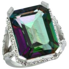 Natural 13.72 ctw Mystic-topaz & Diamond Engagement Ring 10K White Gold - SC-CW908140-REF#65M2H