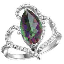 Natural 3.33 ctw Mystic-topaz & Diamond Engagement Ring 14K White Gold - SC-R275571W08-REF#77N5G