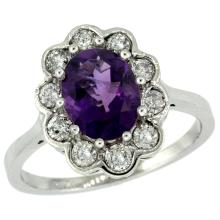 Natural 2.34 ctw Amethyst & Diamond Engagement Ring 10K White Gold - SC-10C319661W01-REF#69Z8Y
