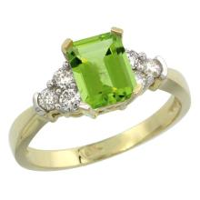 Natural 1.48 ctw peridot & Diamond Engagement Ring 14K Yellow Gold - SC-CY411169-REF#52R2Z