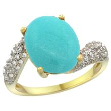 Natural 6.45 ctw turquoise & Diamond Engagement Ring 14K Yellow Gold - SC-R293431Y18-REF#72A3V