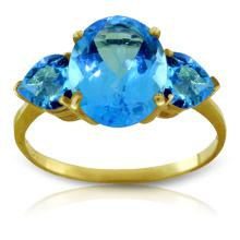 Genuine 4.2 ctw Blue Topaz Ring Jewelry 14KT Yellow Gold - GG-1647-REF#38N6R