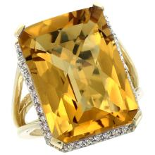 Natural 15.06 ctw Whisky-quartz & Diamond Engagement Ring 10K Yellow Gold - SC-CY926133-REF#57H2W