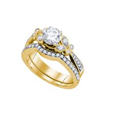 Natural 0.75 ctw Diamond Bridal Set Ring 14K Yellow Gold - GD76887-REF#170K9T