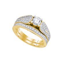 Natural 1.0 ctw Diamond Bridal Set Ring 14K Yellow Gold - GD90102-REF#192M5G