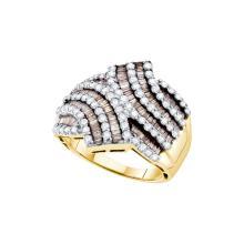 Genuine 1.75 CTW White & Cognac Diamond Ladies Ring 14KT Yellow Gold - GD49648-REF#149H3W