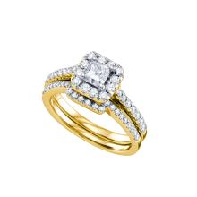 Natural 1.0 ctw Diamond Bridal Set Ring 14K Yellow Gold - GD67269-REF#179R9K