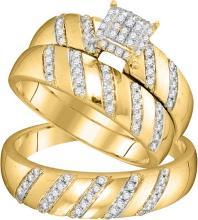 Genuine 0.50 CTW Diamond Trio Set Ring 10KT Yellow Gold - GD104098-REF#59S4V