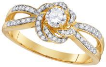 Genuine 0.50 CTW Diamond Bridal Ring 10KT Yellow Gold - GD109981-REF#64W7G