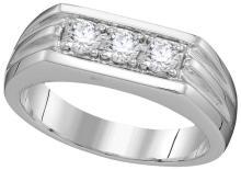 Genuine 0.50 CTW Diamond Men's Ring 10KT White Gold - GD110059-REF#77Z3T