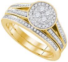 Natural 0.50 ctw Diamond Bridal Set Ring 14K Yellow Gold - GD86514-REF#90X2A