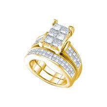 Natural 3.0 ctw Diamond Bridal Set Ring 14K Yellow Gold - GD38821-REF#467Z9Y