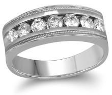 Genuine 1 CTW Diamond Men's Ring 10KT White Gold - GD109597-REF#185N3S