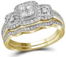 Genuine 0.50 CTW Diamond Bridal Set Ring 14KT Yellow Gold - GD110549-REF#76F5N