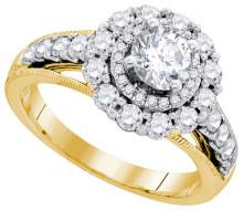 Natural 1.75 ctw Diamond Bridal Ring 14K Yellow Gold - GD86526-REF#431F9M