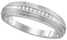 Genuine 0.10 CTW Diamond Men's Ring 10KT White Gold - GD110087-REF#21W6G