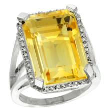 Natural 15.06 ctw Citrine & Diamond Engagement Ring 10K White Gold - SC#CW909133 - REF#W48N4