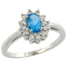 Natural 0.67 ctw Swiss-blue-topaz & Diamond Engagement Ring 14K White Gold - SC#CW404103 - REF#W36N5