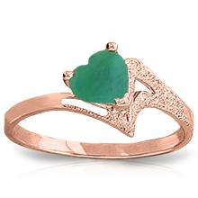 Genuine 1 ctw Emerald Ring Jewelry 14KT Rose Gold - GG-4394-REF#43A2K