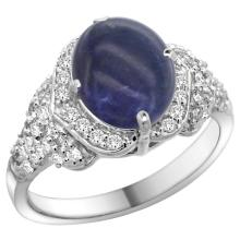 Natural 3.02 ctw lapis-lazuli & Diamond Engagement Ring 14K White Gold - SC-R183071W46-REF#100V9F