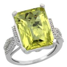 Natural 12.14 ctw Lemon-quartz & Diamond Engagement Ring 14K White Gold - SC-CW427134-REF#62Y2X