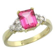 Natural 1.48 ctw pink-topaz & Diamond Engagement Ring 14K Yellow Gold - SC-CY406169-REF#52R3Z