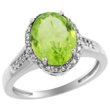 Natural 2.49 ctw Peridot & Diamond Engagement Ring 10K White Gold - SC-CW911109-REF#36M5H