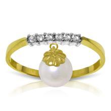 Genuine 2.1 ctw Pearl & Diamond Ring Jewelry 14KT Yellow Gold - GG-2871-REF#33N7R