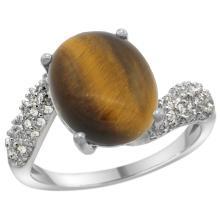 Natural 4.45 ctw tiger-eye & Diamond Engagement Ring 14K White Gold - SC-R293431W24-REF#47Y5X
