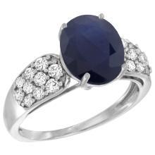 Natural 2.75 ctw blue-sapphire & Diamond Engagement Ring 14K White Gold - SC-R289771W16-REF#118G9M