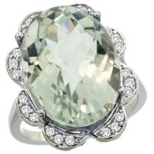 Natural 13.83 ctw green-amethyst & Diamond Engagement Ring 14K White Gold - SC-R308021W02-REF#124W4K
