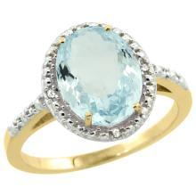 Natural 2.12 ctw Aquamarine & Diamond Engagement Ring 10K Yellow Gold - SC-CY912111-REF#35G4M
