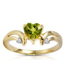 Genuine 1.26 ctw Peridot & Diamond Ring Jewelry 14KT Yellow Gold - GG-1204-REF#42H2X
