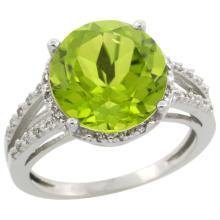 Natural 5.19 ctw Peridot & Diamond Engagement Ring 10K White Gold - SC-CW911110-REF#42Y8X