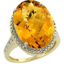 Natural 13.6 ctw Whisky-quartz & Diamond Engagement Ring 10K Yellow Gold - SC-CY926108-REF#52G3M
