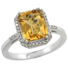 Natural 2.63 ctw Whisky-quartz & Diamond Engagement Ring 14K White Gold - SC-CW426122-REF#42K2R