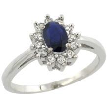 Natural 0.86 ctw Blue-sapphire & Diamond Engagement Ring 10K White Gold - SC-CW953103-REF#46R7Z