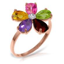 Genuine 2.22 ctw Pink Topaz, Citrine & Amethyst & Diamond Ring Jewelry 14KT Rose Gold - GG-3423-REF#35M9T