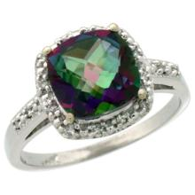 Natural 3.92 ctw Mystic-topaz & Diamond Engagement Ring 10K White Gold - SC-CW908136-REF#26G7M