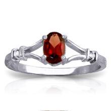 Genuine 0.46 ctw Garnet & Diamond Ring Jewelry 14KT White Gold - GG-1253-REF#27N2R