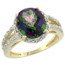 Natural 3.47 ctw Mystic-topaz & Diamond Engagement Ring 10K Yellow Gold - SC-CY908106-REF#34F7N