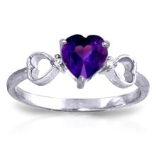 Genuine 0.96 ctw Amethyst & Diamond Ring Jewelry 14KT White Gold - GG-1271-REF#41K4V
