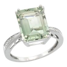 Natural 5.42 ctw green-amethyst & Diamond Engagement Ring 14K White Gold - SC-CW402149-REF#61X9A