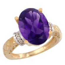 Natural 5.53 ctw Amethyst & Diamond Engagement Ring 10K Yellow Gold - SC-CY901200-REF#44M6H