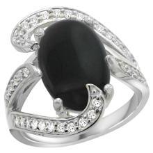 Natural 3.96 ctw onyx & Diamond Engagement Ring 14K White Gold - SC-R308101W17-REF#132K8R