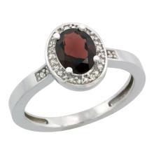 Natural 1.08 ctw Garnet & Diamond Engagement Ring 10K White Gold - SC-CW910150-REF#25X5A